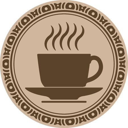 bezel: Cup of coffee into decorative round frame