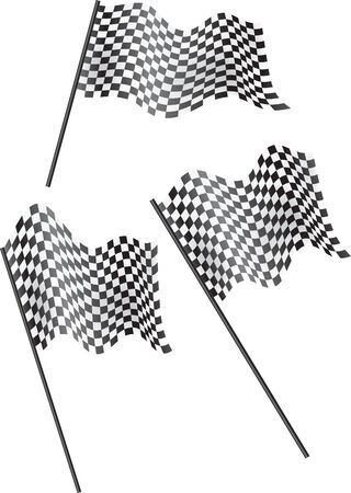 indy: Set of 3 chequered flags flying. Vector illustration. Stock Photo