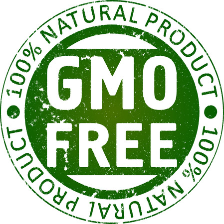genetically modified crops: GMO free rubber stamp.