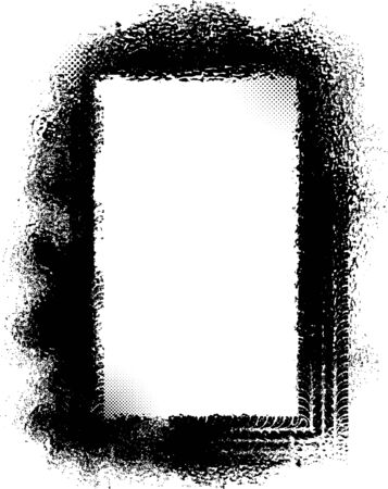 tire imprint: Grunge frame with tire tracks. Vector illustration. Stock Photo