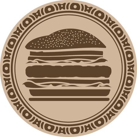 sesame seed: Hamburger into decorative round frame Stock Photo