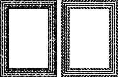 huellas de llantas: Par de marcos de vectores en las huellas de neumáticos estilo