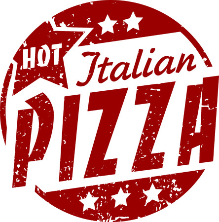 Hot italian pizza grunge vector design.