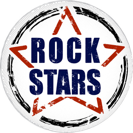 stamps: Rock stars grunge design. Stock Photo