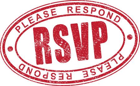 RSVP rubber stamp. Stockfoto