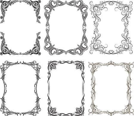 Set von 6 Vektorrahmen Standard-Bild - 36598710