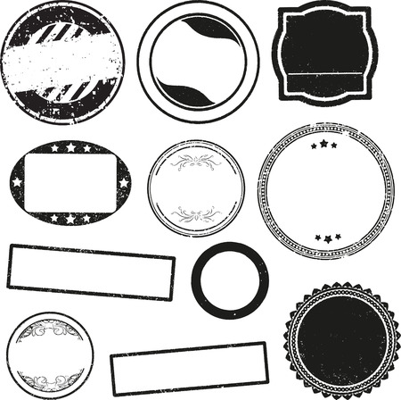 vintage document: Big set of templates for rubber stamps