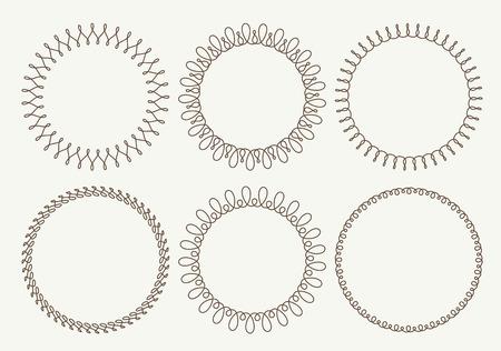 bordes decorativos: Conjunto de 6 marcos redondos muy simples con totalmente editable trazo ancho Foto de archivo