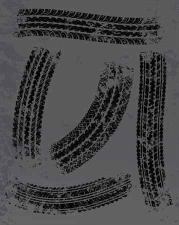 neumaticos: Las huellas de los neum�ticos de fondo vector
