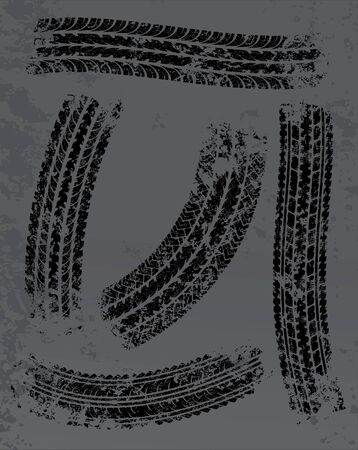 tire imprint: Traces of tires vector background