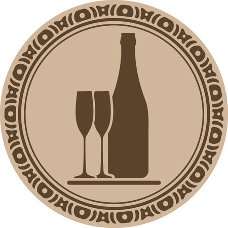 pair of glasses: Buttle of wine and pair of glasses into decorative round frame Stock Photo