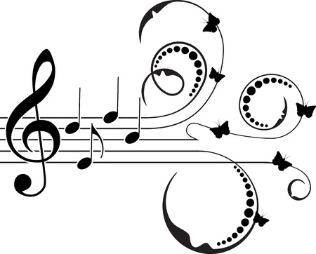 treble clef: Treble clef with floral decor and butterflies