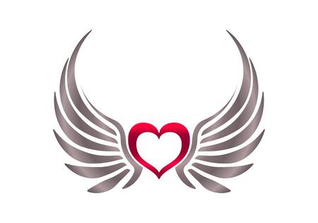 ali angelo: Cuore con le ali. Archivio Fotografico