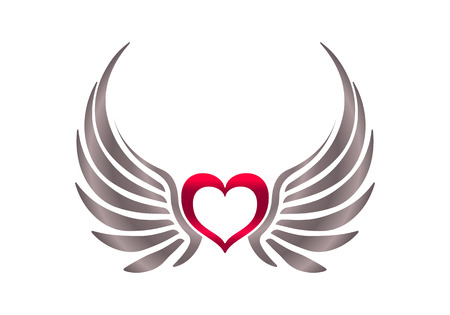 classic tattoo: Heart with wings.