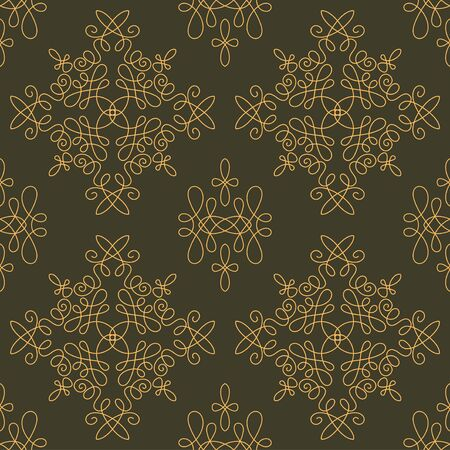 gamma: Rich decorated calligraphic outlined stroke seamless pattern in dark and gold gamma. Pattern number 7.
