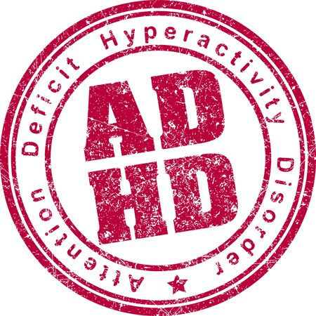 inattention: ADHD (Attention Deficit Hyperactivity Disorder) rubber stamp. Stock Photo
