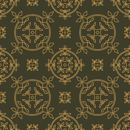 gamma: Rich decorated calligraphic outlined stroke seamless pattern in dark and gold gamma. Pattern number 6.