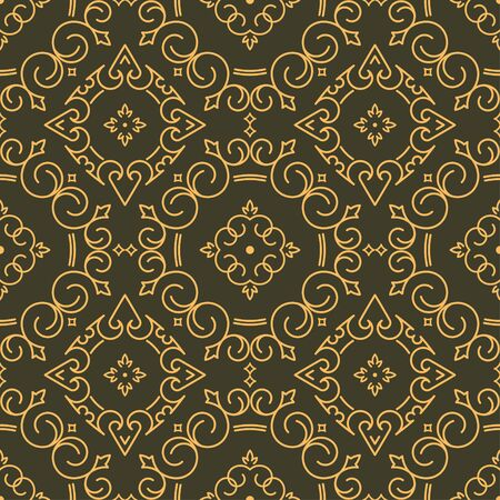 gamma: Rich decorated calligraphic outlined stroke seamless pattern in dark and gold gamma. Pattern number 5. Stock Photo