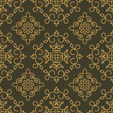 gamma: Rich decorated calligraphic outlined stroke seamless pattern in dark and gold gamma. Pattern number 3.