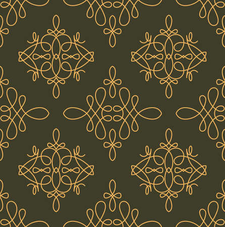 gamma: Rich decorated calligraphic outlined stroke seamless pattern in dark and gold gamma. Pattern number 1.