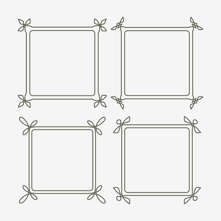 full frames: Set of four decorative frames with full editable stroke weight