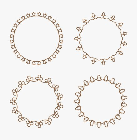 full frames: Set of 4 decorative calligraphic floral round frames with full editable stroke weight