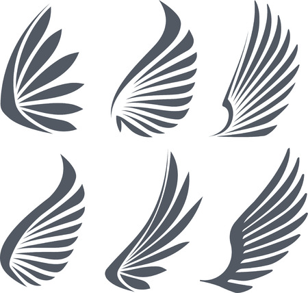 wings icon: Set of 6 vector wings.