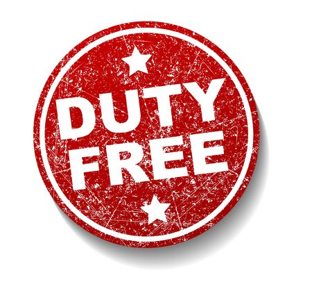 duty: Duty Free rubber stamp decor with shadow Stock Photo