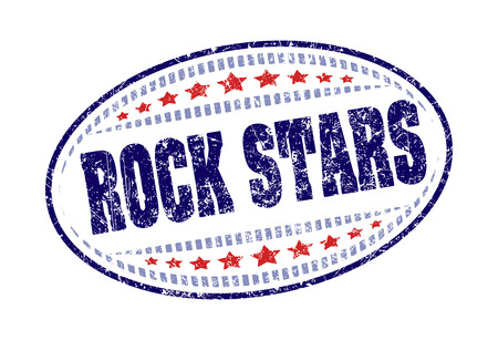 Rock stars rubber stamp grunge style label. Stock Photo