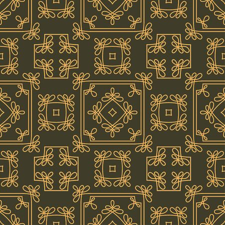 Rich decorated calligraphic outlined stroke seamless pattern in dark and gold gamma. Pattern number 8. photo