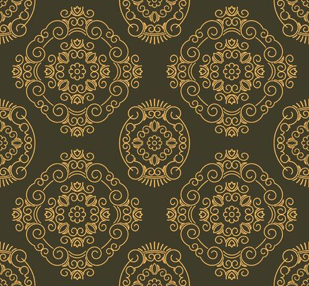 number 10: Rich decorated calligraphic outlined stroke seamless pattern in dark and gold gamma. Pattern number 10. Stock Photo