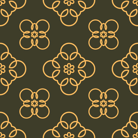 number 11: Rich decorated calligraphic outlined stroke seamless pattern in dark and gold gamma. Pattern number 11.