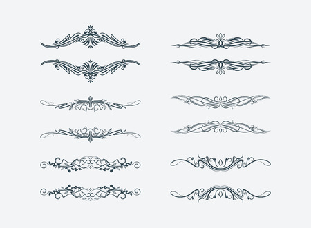 dividing lines: Set of 6 vector texts frames. Stock Photo