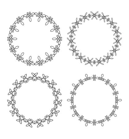caligraphic: Set of 4 elegant outlined caligraphic round frames Stock Photo