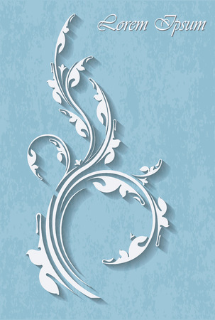Floral branch on  on a turquoise background background