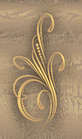 gamma: Floral branch on grunge gold gamma background
