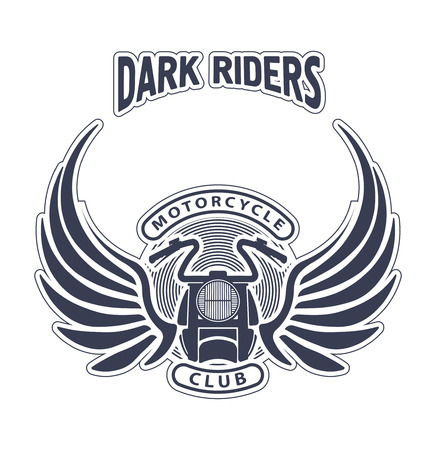 motorcycle racing: Dark riders motorcycle club design for emblem or logo