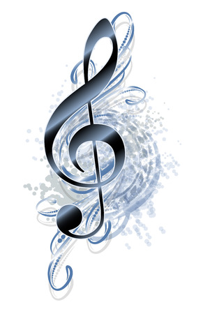 Abstract grunge musical background with treble clef.