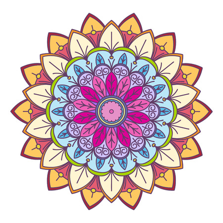 Abstract vector colorful round lace design in mono line style - mandala, decorative element photo