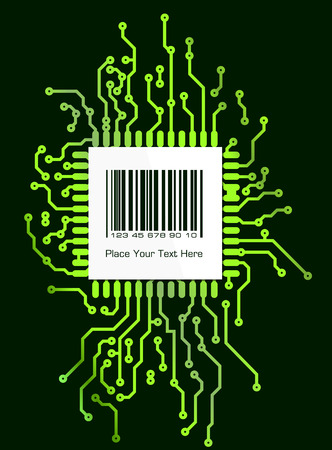 pcb: Barcode label on green shyne PCB board style background Stock Photo