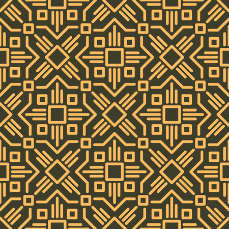 number 14: Rich decorated calligraphic outlined stroke seamless pattern in dark and gold gamma. Pattern number 14.