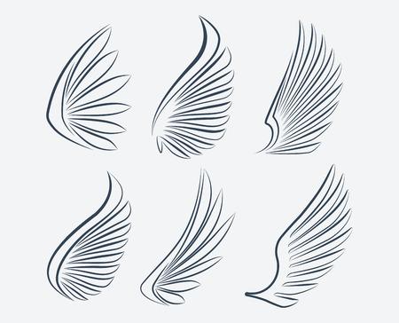 paloma caricatura: Conjunto de seis alas vector ictus esbozados
