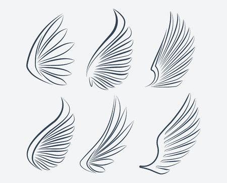 wings angel: Set of six outlined stroke vector wings Stock Photo