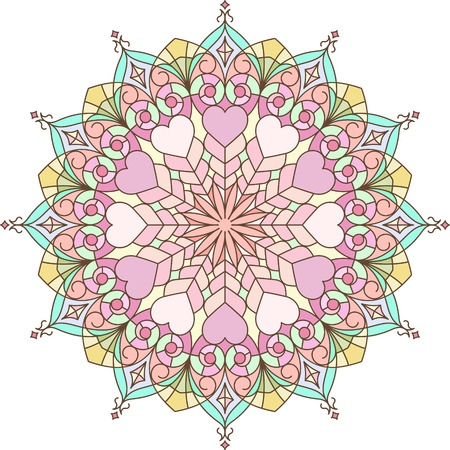 pleasant: Abstract vector colorful round lace design in mono line style - mandala, decorative element with gentle and pleasant colors