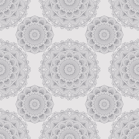 weldless: Abstract vector seamless pattern with round lace elements in mono line style