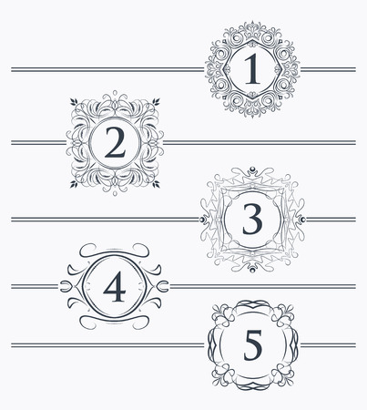 pagination: Decorative elements for design footer with the decor for the page number Stock Photo