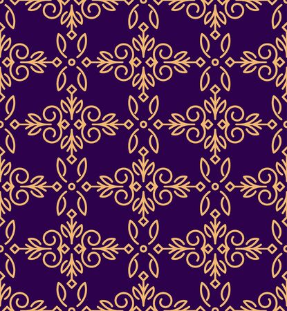 gamma: Rich decorated mono line style vector seamless pattern in gold and dark violet gamma