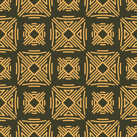 Rich decorated calligraphic outlined stroke seamless pattern in dark and gold gamma. Pattern number 11. photo