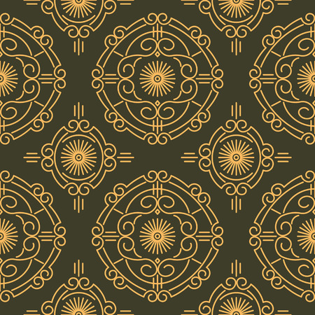 Rich decorated calligraphic outlined stroke seamless pattern in dark and gold gamma. Pattern number 15. photo