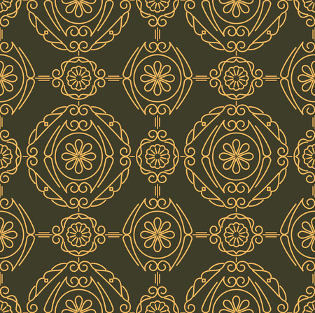 number 16: Rich decorated calligraphic outlined stroke seamless pattern in dark and gold gamma. Pattern number 16. Stock Photo